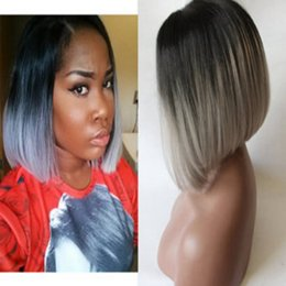 kanekalon lace wigs Canada - Synthetic hair Short Bob wig Straight Grey Lace Front Wig hand tied Beyonce Glueless kanekalon Synthetic hair gray wig For Black Women