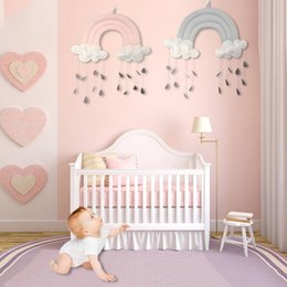 Toy Room Decor NZ - Baby Children Hanging Bed Toys Cloud Raindrop Wall Stickers Room Decals Decor Pendant Home Decoration Wall Art Window Furniture Sticker
