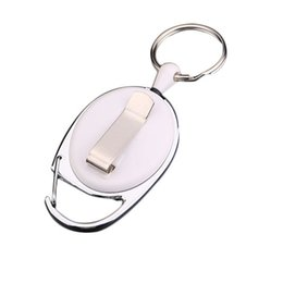 retractable badge ring UK - 10pcs Set Portable Keychains Retractable Pull Keychain Lanyard ID Badge Holder Car Keys Card Belt Clip Key Ring Chain Buckle Key Chain
