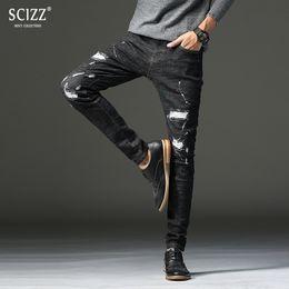$enCountryForm.capitalKeyWord NZ - ripped strech distressed pants men designer biker jeans trousers casual men slim fit black jeans Paint point fear of god #2102