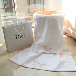 Pc check online shopping - 2018 New arrivel Two sets of embroidered towel children clothing adult fashion comfort plush cotton towel two piece simple white towel
