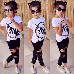 $enCountryForm.capitalKeyWord NZ - Hot Sale! 2018 INS Kids Girls Clothes Set Baby Girl Summer Short Sleeve Print T-Shirt + Hole Pant Leggings 2PCS Outfit Children Clothing Set