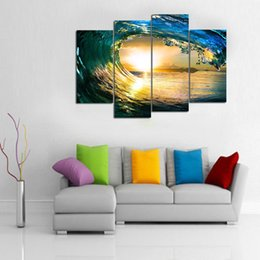 China paradise ocean sea 4 Pieces Home Decor HD Printed Modern Art Painting on Canvas (Unframed Framed) cheap painting sea ocean suppliers