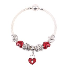 Piercings For Lip Australia - Simple And Cute Style Red Heart-Shaped Pendant Pierced Lips Beads DIY Suitable for Women Bracelets Original European Jewelry