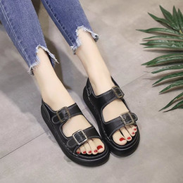 Thick Sole Sandals Australia - Classics Fashion Concise Summer Gladiator Women Sandals PU Women Shoes Ankle Strap Thick Soled Rome Sandals
