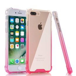 gradient tpu iphone case NZ - Slim Transparent Crystal Case Clear Gradient Shockproof Soft TPU Bumper Hard Plastic Back Cover For iPhone X 8 7 6 6s Plus MOQ:1PCS
