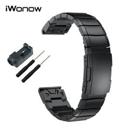 Wholesale Stainless Steel Watchband mm Easy Fit Strap Tool for Garmin Fenix HR X S Forerunner Epix Watch Band Wristband