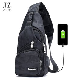$enCountryForm.capitalKeyWord NZ - JZ CHIEF USB Interface Charging Camouflage Chest Bag Men Fanny Pack Crossbody Backpack Over The Shoulder Bag Waterproof Fashion