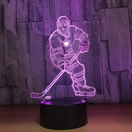 optical player UK - Hockey Ice Ball Player 3D Optical Illusion Lamp Night Light DC 5V USB Charging 5th Battery Wholesale Dropshipping Free Shipping