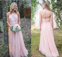 $enCountryForm.capitalKeyWord NZ - Pink Halter Backless Wedding Dresses Elegant Tulle A Line Floor Length Beach Style Bride Dresses for Wedding Guest 2018 Custom Made Cheap