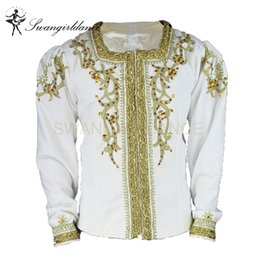 ballet stage costumes NZ - men's professional white gold ballet stage costume boys ballet dance jacket tops performance outwear BM0001