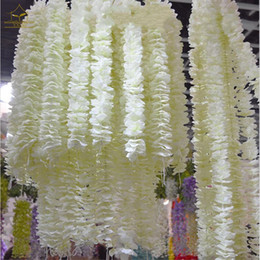 flower for decoration wholesale Australia - 1 meter long Elegant Handing Orchid Silk Flower Vine White Wisteria Garland Ornament for Festival Wedding Garden Decoration