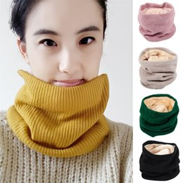 $enCountryForm.capitalKeyWord NZ - Scarves Autumn Winter Single Circle Neck Shawls Lovers Pure Color Warmth Double Layer Velvet Knitted Scarf Wraps 8mc gg