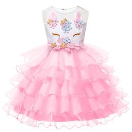 brooch flower pearl 2019 - Unicorn Party Dresses Children Halloween Christmas Cosplay Costume For Kids Flower Girls Wedding Dress For Girls Princes