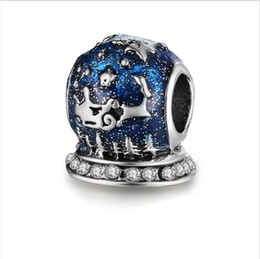 11813bb95 Fits Pandora Sterling Silver Bracelet 10Pc Christmas Reindeer Blue Beads  Charms For European Snake Charm Chain Fashion DIY Jewelry Wholesale