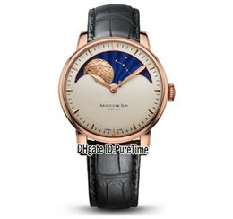 China New 42mm Arnold&Son HM Perpetual Moon A1GLARI01AC122A Rose Gold White Dial Mechanical Hand Winding Mens Watch Black Leather Strap UK Cool cheap leather hand straps suppliers