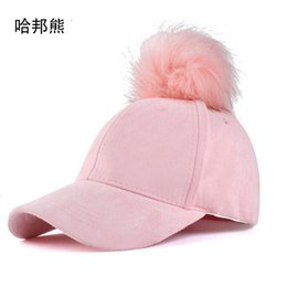 78df687fe07bd 2017 Fashion Women Faux Fox Fur Pompom Baseball Cap Ball Suede Snapback  Adjustable Caps Hip Hop Hat Gorros para el sol