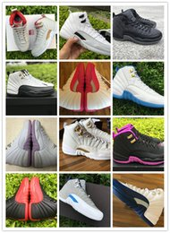 Discount carbon fiber basketball shoes - Real carbon fiber, AJ12S XII 12 GS Hyper Jade Hyper Violet Barons Taxi Wool pink Flu Game French Blue 12S women Basketba