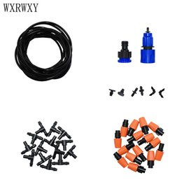 Hose For Irrigation NZ - wxrwxy irrigation system misting system watering kit brass misting nozzle 4 7 hose drip irrigation for greenhouse 1 set
