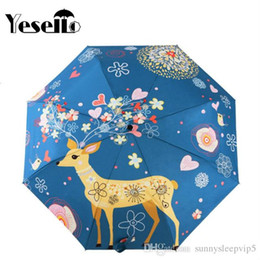 umbrella paintings Australia - Yesello Flowers Elk Original Design Women's Umbrella Oil Painting 3 Folding Parasol Lady Portable Girl Friend Gift For Wife Kids