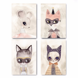 Discount girl cat painting - Watercolor Fashion Fox Mouse Cat Poster Prints Wall Art Canvas Unframed Painting Nursery Picture Baby Girls Room Decorat