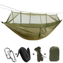 Großhandel Ultralight Outdoor Jagd Moskitonetze Parachute Hängematte Nylon Camping Hängematten für Wandern Reisen Backpacking