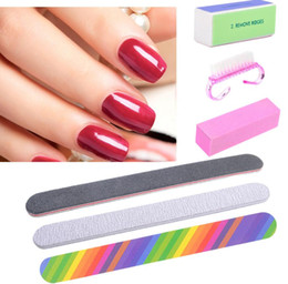 Free Shipping Sanding Block Australia - 6Pcs Set Nail File Sanding Buffer Block Pedicure Manicure Buffing Polish Beauty Tools Professional Nail Files Grey Boat Free Shipping