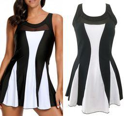 425c99d395029 2018 Women Clothes Black White Color Patchwork Swimwear Plus Size Womens  Swimsuit High Waist Swimdress Bathing Suits 51