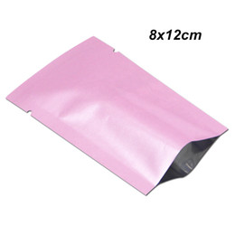 $enCountryForm.capitalKeyWord UK - 200Pieces 8x12cm Pink Open Top Aluminum Foil Food Valve Packing Bag Vacuum Mylar Foil Heat Sealing Storage Packing Pouches for Dried Flower