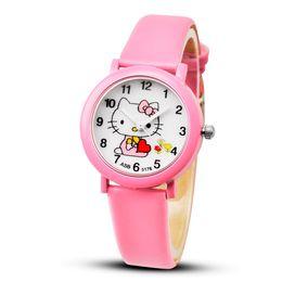 2464687695a Cute CloCk watCh online shopping - 2018 Hello Kitty Cartoon Watches Kid  Girls Leather Straps Wristwatch