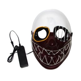 Chinese  EL Wire Mask Flashing Cosplay LED Mask Skeleton Head Shaped Mask Glow In Dark Dance Carnival Party Masks Halloween Decoration manufacturers