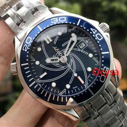 Wholesale Luxury Stainless Steel Mens Professional m James Bond Blue Black Automatic MASTER Watch Men s Watches Men Reloj Wristwatch