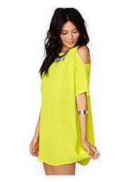 Женская одежда Летнее платье Повседневный стиль с коротким рукавом с плеча Конфеты Цвет шифоновое платье для модных девушек YFF6083