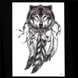 fef6d03256742 Tattoos Wolves Canada - 1pc Sketch Black Tattoo Sticker Women Men 3D Body  Art HB577 Wolf