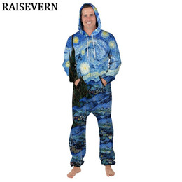 7f695289660a3c Van Gogh Starry Sky Long Sleeve Men Romper Galaxy Space Stars 3D Jumpsuit  Hooded Playsuit Zipper Pocket Overalls Autumn Men Sets