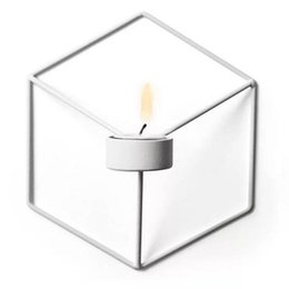 Chinese  Visual Touch Nordic Style 3D Geometric Candlestick Metal Wall Candle Holder Sconce Matching Small Tealight Home Ornaments new Party manufacturers