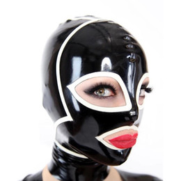 Fetish Cosplay Canada - 100% Pure Latex Hoods open Eyes and Mouth Rubber Fetish Beautiful Girl Mask Cosplay Party Wear Handmade Costumes