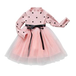 Estate Dolce Neonate Abiti Principessa Polk Dot Dress Baby Party Pageant manica lunga Mini Vestidos