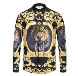 Chinese  Men European American Korean fashion new trend personality fitness show digital lion pattern 3D printed long-sleeve shirt  M-2xl manufacturers