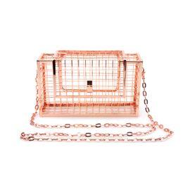 China Homeda Women Bag Metal Net Bags Rose Gold Mesh Grid Cage Clutch Women's Single Chain Shoulder Bag Female Clutch Messenger Bags cheap rose gold clutch bag suppliers