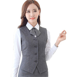 Black Work Vests NZ - Slim Short Gray Work Women's Vest V-Neck Formal Waistcoat for Women Bank Career Black Vests Office Lady Blue Red Female Vest