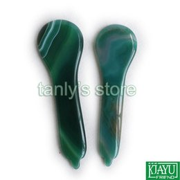 face shaping tool Australia - 2pieces lot Traditional Acupuncture Massage Tool Guasha beauty face Board Natural Green Agate Stone (spoon shape)