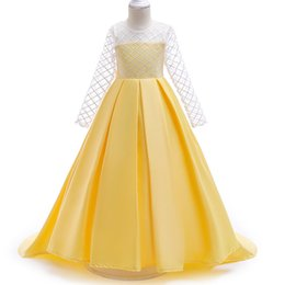 $enCountryForm.capitalKeyWord UK - Gold Flower Girl Dresses for Weddings Long Lace Sleeve Girls Pageant Dresses First Communion Dress Little Girls Ball Gowns Hot Sale 2018