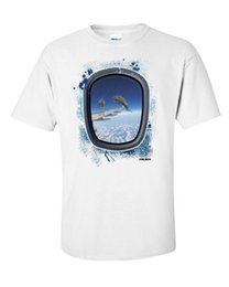 Airplane Art UK - Dolphins T-Shirt Surreal Art Funny Airplane Dive Swim Vintage YOLO Gift Tee New