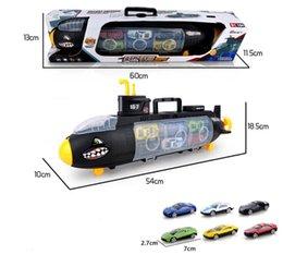 Sous-marin de jouet modèle Shark de jouets d'enfants avec 6 modèles de voiture d'alliage modèles de stockage portatif de boîte de cadeau en Solde