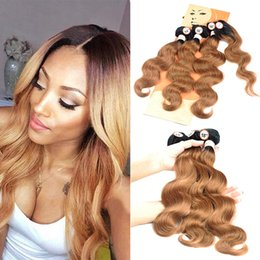Discount two tone weave hair extensions - Brazilian Body Wave Human Hair Weave Bundles with Closure 4PCs Lot Ombre Two Tone Pre-Coloed Auburn Virgin Hair Weave Ex