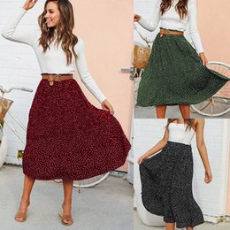 41d5ccb0c82 Women Skirts Polka Dot Chiffon Vintage Long Skirt Ruffles Beach Casual Women  Clothes Summer Fashion