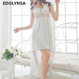 cute black nightgowns 2019 - New Arrivals Lace Nightgowns Sleepshirts Solid  Sleepwear Sexy Nightgown Female Soft 53b2cafcf
