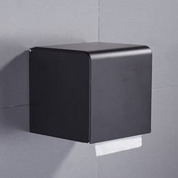 Wholesale Black Paper Tissue Box Bathroom Paper Roll Holder Wall Mounted Toilet Paper Rack Bathroom Accessories Tissue Holder Box