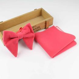 $enCountryForm.capitalKeyWord NZ - Women Solid Micro Suede Big Bowties Pocket Square Set Leather Mens Plaid Soft Cravat Handkerchief Butterfly Gravata Bow Ties